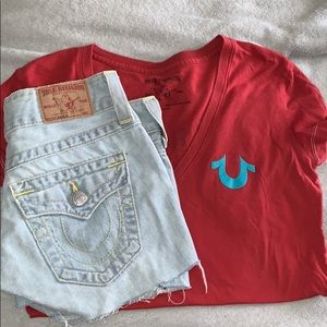 True religion Bundle short and shirt